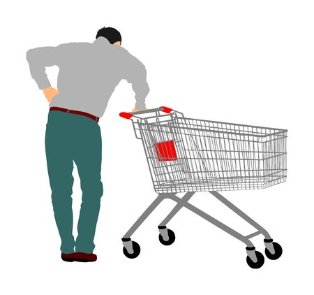 Man doing everyday grocery shopping with shopping basket at supermarket, vector isolated. Male usual after work with consumer bag buy food and another goods. Metal market trolley. Empty shopping cart.