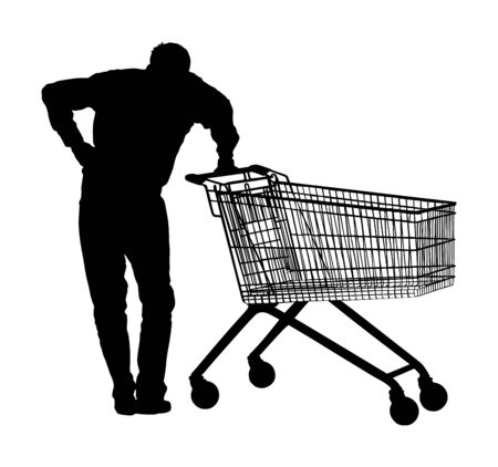 Man doing everyday grocery shopping with shopping basket at supermarket, vector silhouette isolated. Male usual after work with consumer bag buy food and another goods. Metal market trolley. Empty shopping cart.