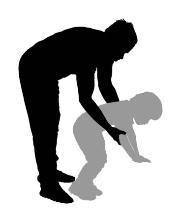 Physiotherapist and kid, boy exercising in rehabilitation center, vector silhouette isolated. Doctor pediatrician supports the child during physiotherapy treatment. holding hands making first steps. Illustration
