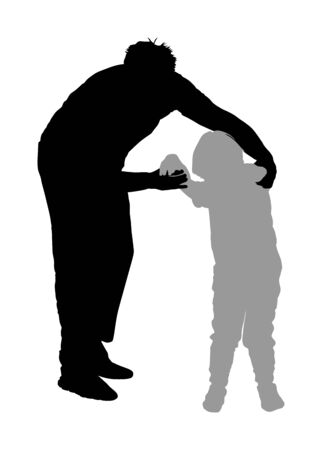 Physiotherapist and kid, boy exercising in rehabilitation center, vector silhouette isolated. Doctor pediatrician supports the child during physiotherapy treatment. holding hands making first steps. Stock Illustratie