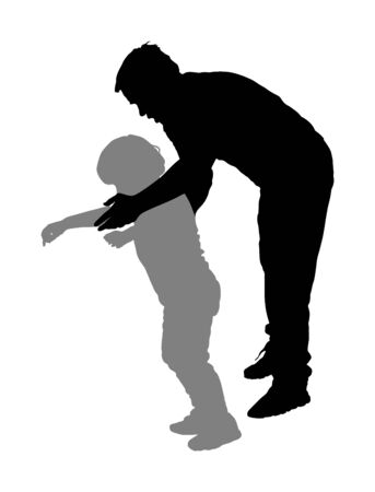 Physiotherapist and kid, boy exercising in rehabilitation center, vector silhouette isolated. Doctor pediatrician supports the child during physiotherapy treatment. holding hands making first steps. Фото со стока - 129269109