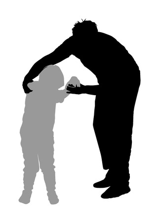 Physiotherapist and kid, boy exercising in rehabilitation center, vector silhouette illustration isolated. Doctor supports the child during physiotherapy treatment. holding hands making first steps. Stock Illustratie