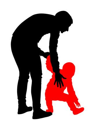 Mère enseignant bébé à marcher, illustration de silhouette vecteur isolée sur fond blanc. Premières étapes d'apprentissage dans la vie. Maman aide bébé. Enseignant ou animateur dans un jardin d'enfants.