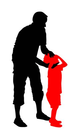 Physiotherapist and kid, boy exercising in rehabilitation center, vector silhouette isolated. Doctor pediatrician supports the child during physiotherapy treatment. holding hands making first steps.