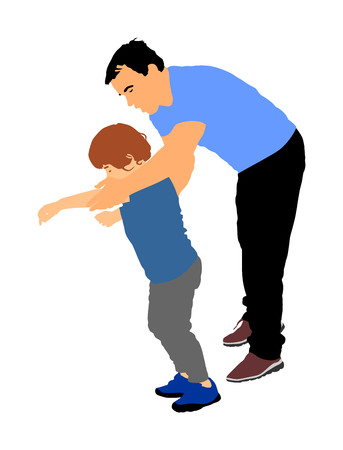 Physiotherapist and kid, boy exercising in rehabilitation center, vector illustration isolated. Doctor supports the child during physiotherapy treatment. holding hands making first steps. Stock Vector - 95758547