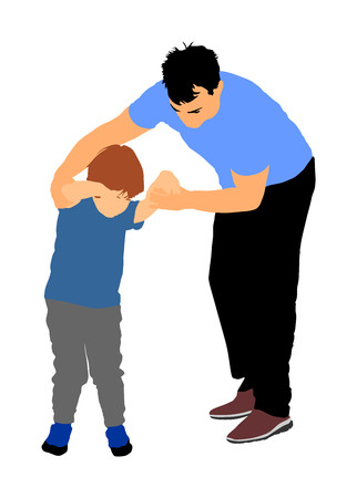 Physiotherapist and kid, boy exercising in rehabilitation center, vector illustration isolated. Doctor supports the child during physiotherapy treatment. holding hands making first steps. Stock Vector - 95758549