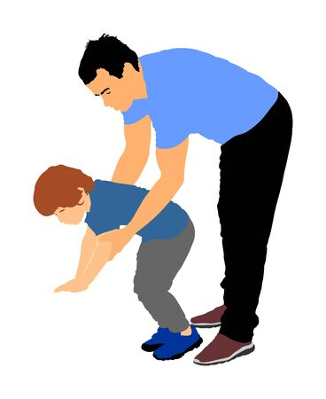 Physiotherapist and kid, boy exercising in rehabilitation center, vector illustration isolated. Doctor pediatrician supports the child during physiotherapy treatment. holding hands making first steps. Stock Illustratie