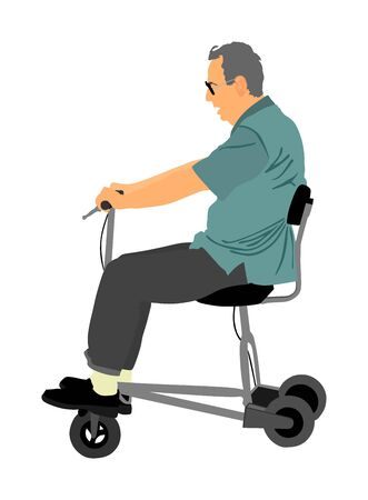 Senior man on electric bicycle,tricycle vector illustration isolated on white background. Mature man on electric walker. Disabled person active life concept. Old invalid person.