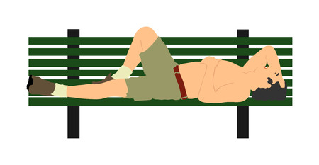 Senior man sunbathing sleeping on wooden bench in the park. Laying outdoors vector illustration isolated on white background.
