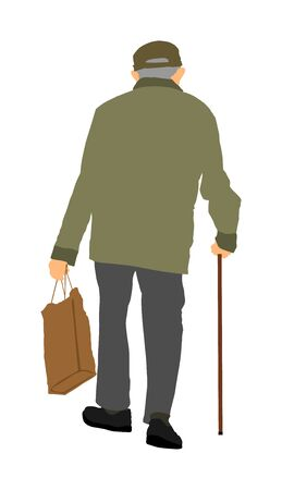 Old man person vector walking with stick, isolated on white background. Healthy senior with shopping bag outdoor activity. Grandfather go to shopping.