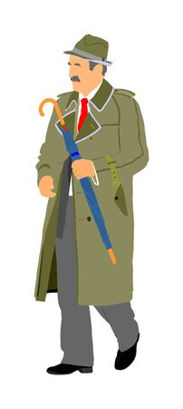 Senior mature person active life. Old man walking with umbrella vector isolated on white. Grandfather veteran healthcare Retail gentleman out of hospital and daycare center. Golden age without nursing Ilustração