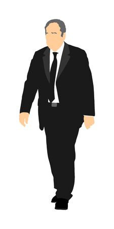 Confident leader walking. Senior businessman on work vector illustration. Handsome mature business man in suit in office. Elegant manager. Grandfather on wedding ceremony.