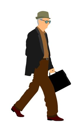 Experienced lawyer with suitcase walking vector. Elegant senior gentleman. Mature businessman. Old school teacher. Man in suit with hand in pocket. Secret service member double agent. Grandfather walk