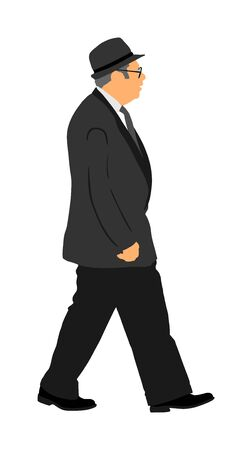 Senior businessman with hat and suit vector illustration. Handsome mature business man in suit in office. Elegant manager. Grandfather on wedding ceremony. Illustration