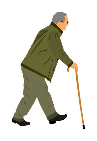 Old man person walking with stick. Vector character isolated on white background. Senior mature, old people active life. Old man person walking outdoor. Grandpa vector. Health care concept.