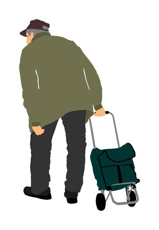 Old man walking with trolley bag in market, vector illustration. Senior outdoor activity. Active life mature person. Health care concept. Grandfather Buying food and another goods.