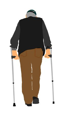 Old man invalid person walking with crutches. Vector character isolated on white background. Senior grandfather rehabilitation with sticks. Active life. Medical treatment.