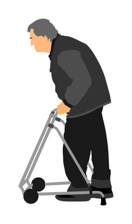 Old man person walking with walker. Vector character isolated on white background. Senior mature, old people active life. Invalid Person walking with stick. Grandpa vector. Illustration