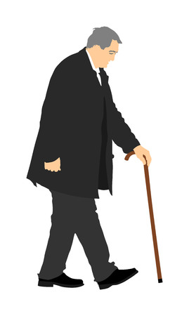 Happy elderly senior walking alone vector isolated on white . Old man person with stick. Mature old people active life. Grandfather outdoor in park. Health care in nursing home. Illustration