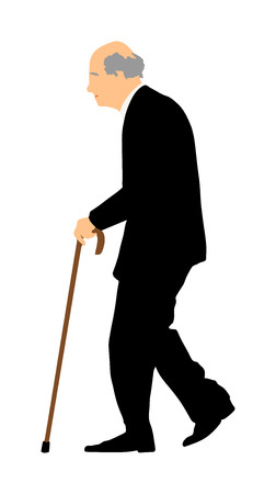 Happy elderly senior walking alone vector isolated on white . Old man person with stick. Mature old people active life. Grandfather outdoor in park. Health care in nursing home. Ilustração