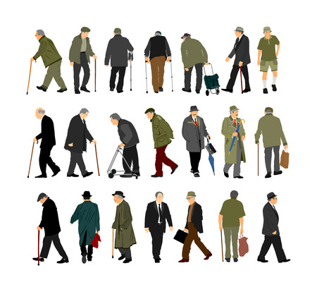 Set of senior mature person. Old people active life. Old man walking with stick vector isolated on white. Grandfather veteran Healthcare. Out of hospital and daycare center. Golden age without nursing Illustration