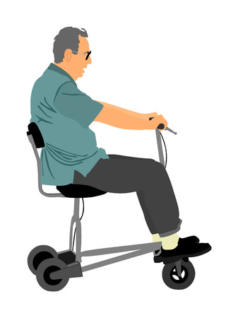 Senior man on electric bicycle,tricycle vector illustration isolated on white background. Mature man on electric walker. Disabled person active life concept. Ilustração