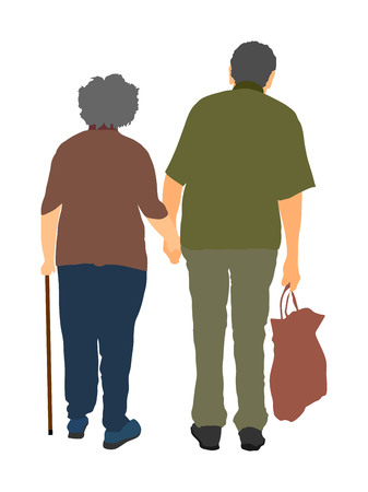 Happy elderly seniors couple together vector isolated on white . Old man person walking with stick. Mature old people active life. Grandfather and grandmother in love. Health care in nursing home.