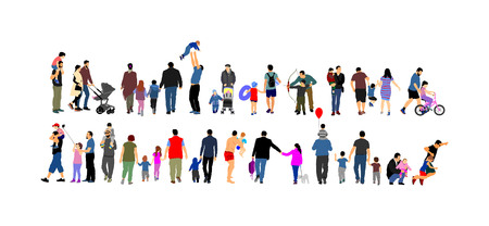 Fathers day set, group of family people vector illustration isolated on white background. Father and daughter. Father and son. Adopted child. Family values. Happy family big group. Outdoor activity.