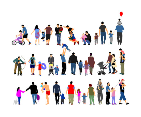 Fathers day set, group of family people vector illustration isolated on white background.