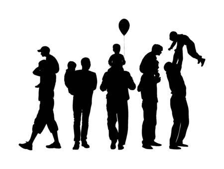 Fathers day set, group of family people vector silhouette isolated on white background. Father and son. Father carrying his son on shoulders, dad carrying little boy with balloon. Vektorové ilustrace