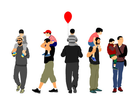 Fathers day set, group of family people vector illustration