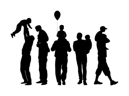 Fathers day set, group of family people vector silhouette illustration isolated on white background. Father and son.  Father carrying his son on shoulders, dad carrying little boy with balloon.