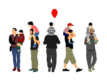 Fathers day set, group of family people vector illustration isolated on white background. Father and son.  Father carrying his son on shoulders, dad carrying little boy with balloon. Illustration