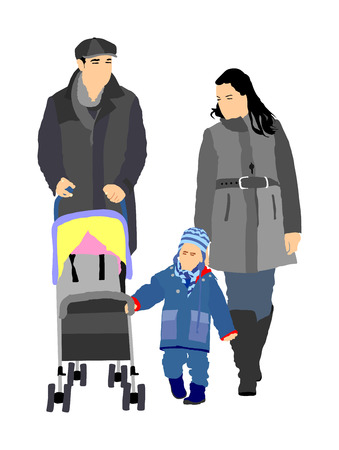 Happy family, parents walking outdoor with baby and pram.