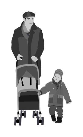Happy family, father walking outdoor with baby in pram vector isolated on white background. Baby carriage. Fathers day. Little boy first steps walking. Family values. Dad love his son. Kid and parent Ilustracja