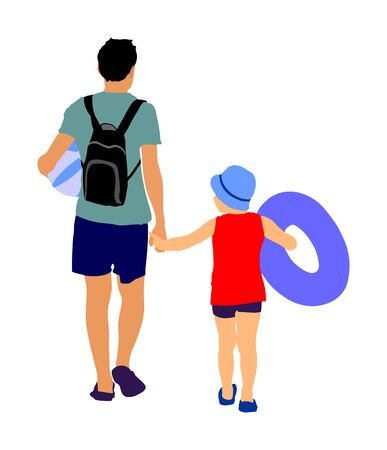 Happy Family Having Fun, and go to the beautiful sunny tropical beach vector illustration. Dad walking with kid, relaxing by the sea. Father with son go to the swimming.