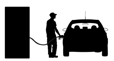 Worker on gas station fill the machine with fuel vector silhouette. Car fill with gasoline. Gas station pump. Man filling gasoline fuel in car holding nozzle.Pumping gasoline fuel in vehicle. Stock Vector - 96693155