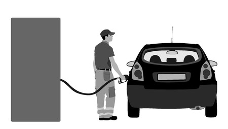 Worker on gas station fill the machine with fuel vector illustration. Car fill with gasoline. Gas station pump. Man filling gasoline fuel in car holding nozzle.Pumping gasoline fuel in vehicle. Vector Illustration