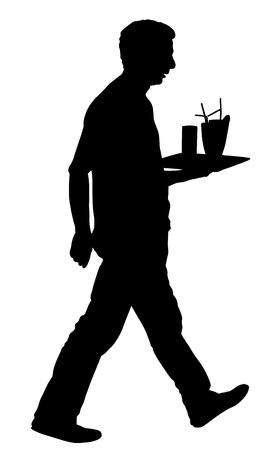 Barmen, waiter with full trays, vector silhouette illustration on the white background.