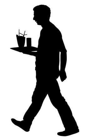 Professional waiter holding tray with orders drinks for guests vector silhouette. Servant in restaurant or pub. Worker in pub serve food and drinks for clients. Barman welcomes. Beach summer cocktails Ilustração