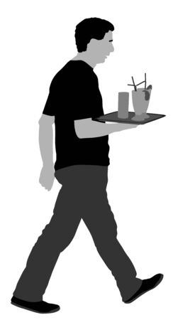 Professional waiter holding tray with order drinks for guests vector. Servant in restaurant taking orders. Worker in pub serve food and drinks for clients. Barman welcomes guest. Beach summer cocktail