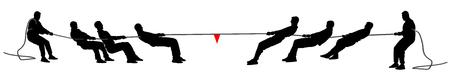 Ilustración de silueta de vector de tira y afloja aislado sobre fondo blanco. Competencia deportiva al aire libre. Gente de negocios de trabajo en equipo. Hombre fuerte disciplina. Ilustración de vector
