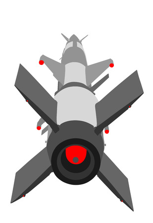Artillery rocket launcher vector illustration. Rocket with nuclear bomb. Nuclear test, war treat.  Bomb air projectile attack.  Powerful weapons. War destruction.