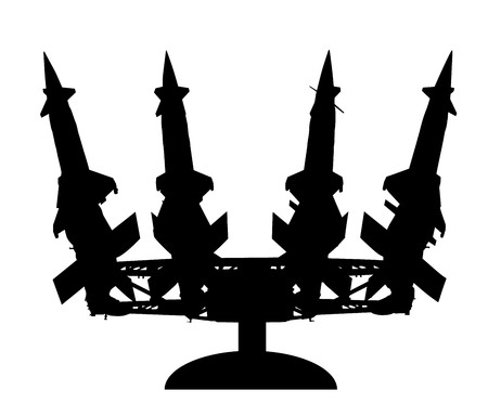 Artillery rocket launcher vector silhouette illustration. Rocket carrier platform with nuclear bomb. Nuclear test, war treat.  Bomb air projectile attack.  Powerful weapons. War destruction. Stock Illustratie
