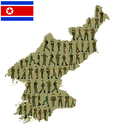 Collection of man soldiers vector over North Korea map isolated on white background. Saluting army soldier's vector.