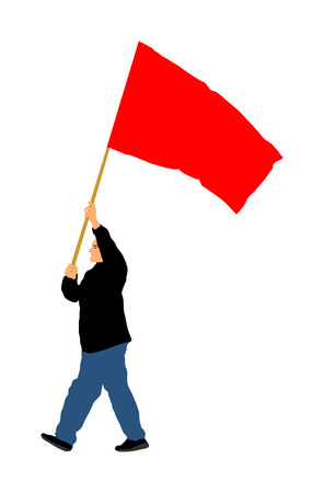 Man walking with flag vector illustration isolated on white background.