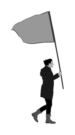 Woman walking with flag vector illustration isolated on white background. Angry protester on the street. Fighter for labor rights. Human rights agitation. Factory strike, walkout. Sport supporter fan.