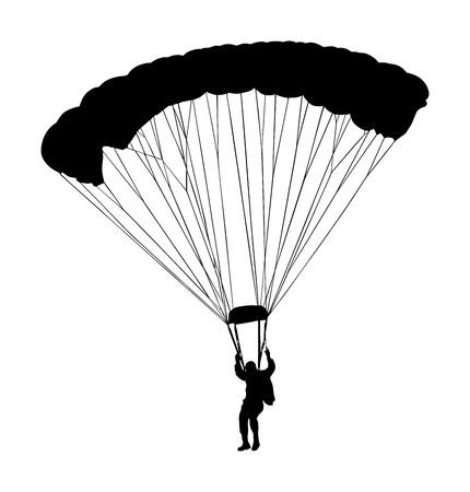 Parachutist in flight vector silhouette illustration isolated on white background. Illustration