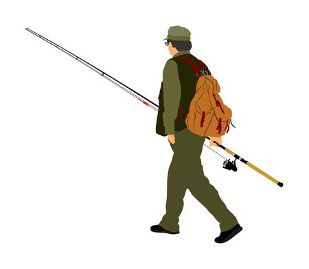 Fisherman vector illustration isolated on white background. Vettoriali