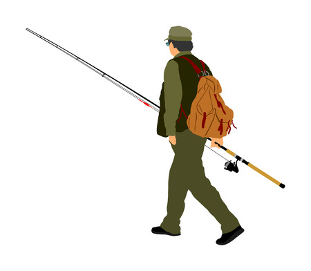 Fisherman vector illustration isolated on white background. Illustration